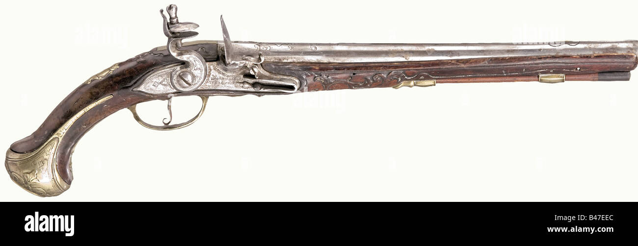 A flintlock pistol, Wolfgang Andreas Weiland, Kassel(?), circa 1730. Round barrel with smooth bore in 15 mm calibre - Stock Image