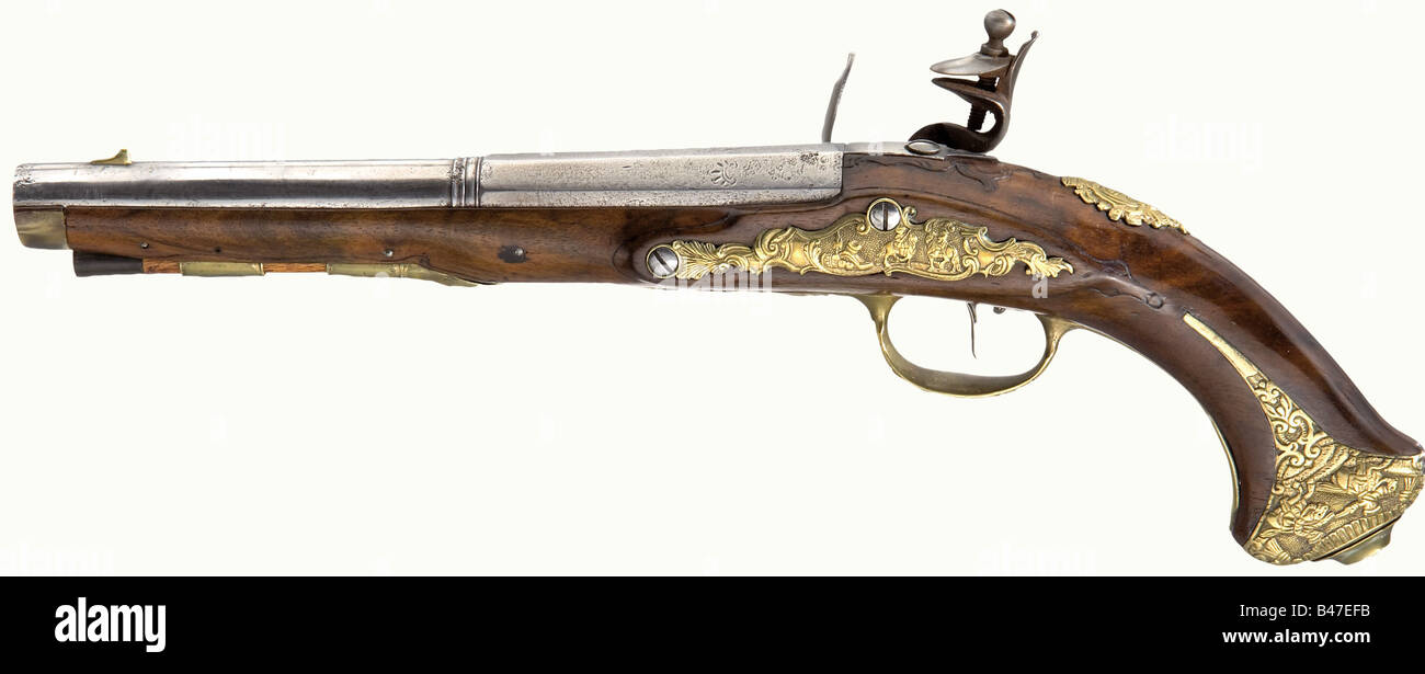 A pair of flintlock pistols, Thaddäus Poltz, Karlsbad, circa 1770. Two-stage barrels, octagonal breech section - Stock Image