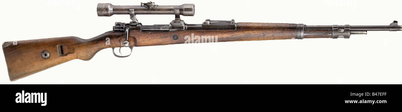 A carbine 98 k with scope 39 (Zielvier), calibre 8 x 57, no. 76140. Matching numbers. Almost bright bore. Produced - Stock Image