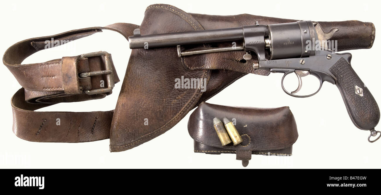 A Gasser army revolver model 1870, calibre 11.2 mm, no. 33668. Matching numbers. Bright bore. On the left side of - Stock Image