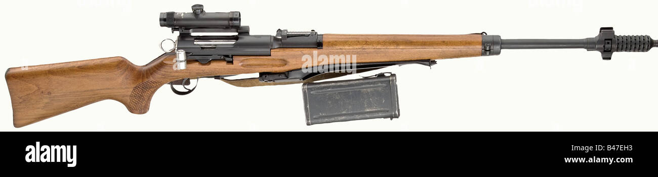 A scope carbine model 55, calibre 7.5 x 55, no. 3784. Matching numbers including magazine. Mirrorlike bore with - Stock Image