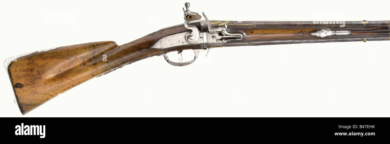 A turn-barrel flintlock short musket, Francois à Cambray, circa 1740. Round, smooth bore barrels in 15 mm calibre - Stock Image