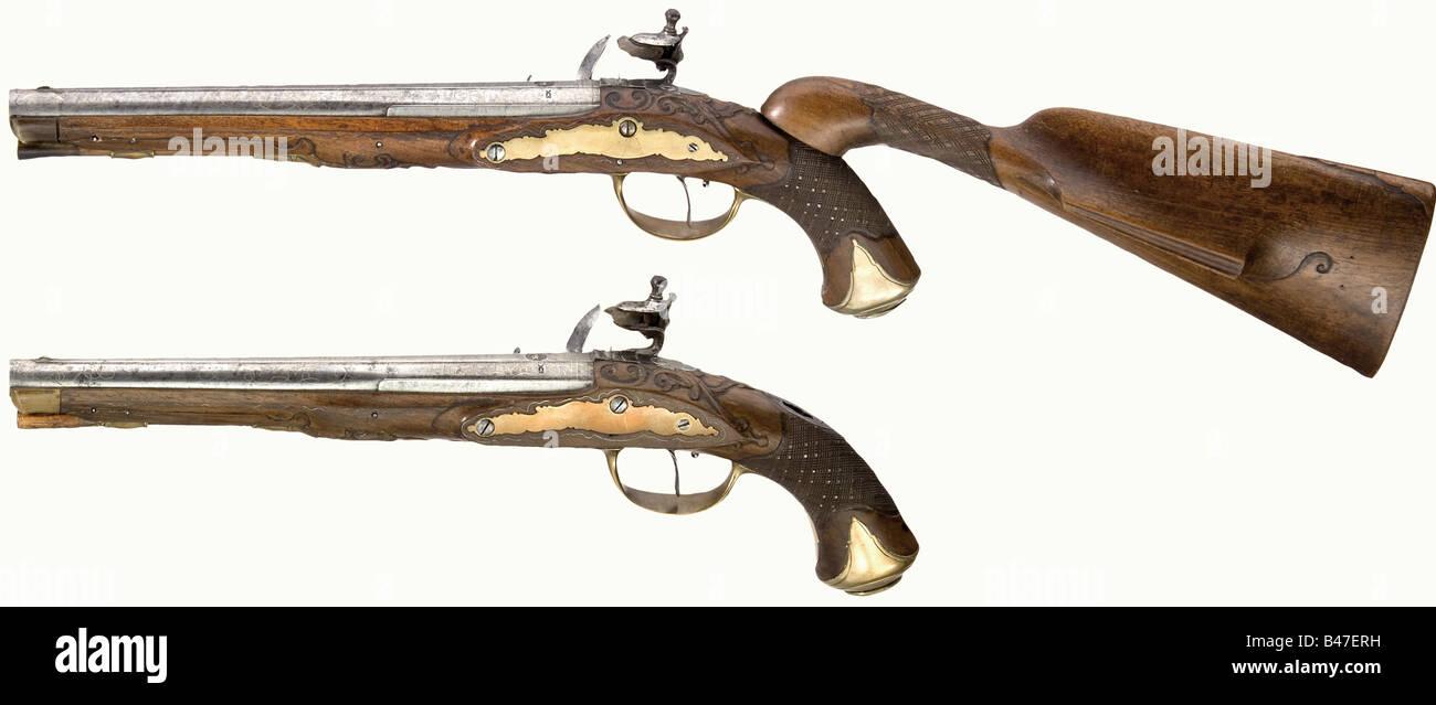 A pair of flintlock pistols with detachable shoulder stock, Johann Christoph Kuchenreuter, Steinweg near Regensburg, - Stock Image