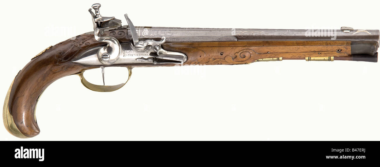 A flintlock pistol, Johann Andreas Kuchenreuter, Steinweg near Regensburg, circa 1780. Round barrel with a raised - Stock Image