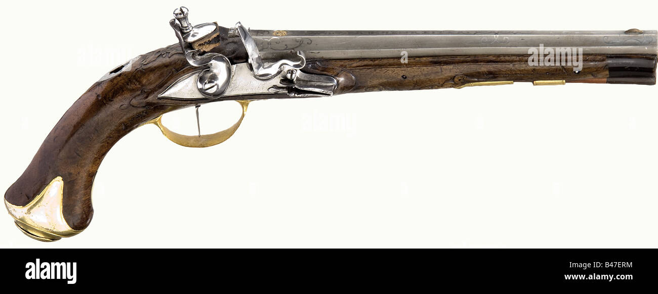 A flintlock pistol, Johann Andreas Kuchenreuter, Steinweg near Regensburg, circa 1780. Octagonal barrel with a smooth - Stock Image