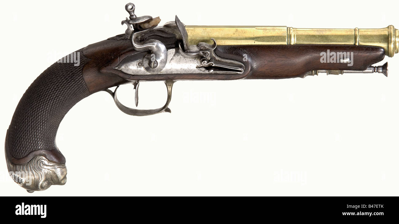 A flintlock pistol with a bronze barrel, France, circa 1820. Heavy two-stage bronze barrel with an octagonal breech - Stock Image