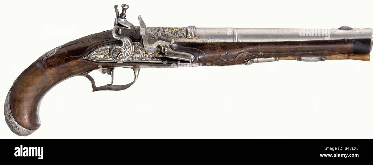 A flintlock hunting pistol, German, circa 1760. Round, three-stage barrel with a smooth bore in 12 mm calibre. There - Stock Image