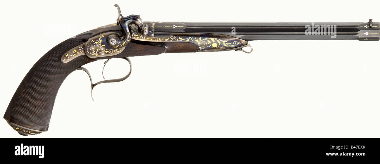 A breech-loading percussion pistol, Henri Rieger, Paris, circa 1870. Reblued fluted rifled barrel in 9.5 mm calibre - Stock Image