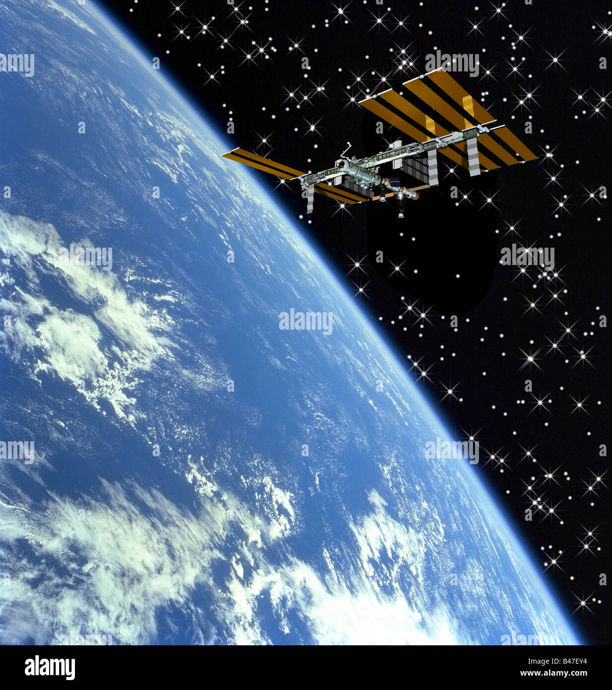 International Space Station (ISS) flying above earth - Stock Image