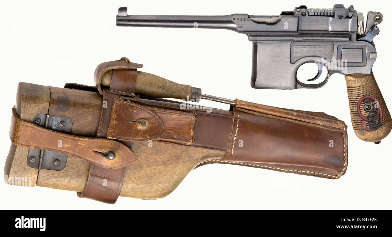 A pistol Mauser C96/16 EWB, calibre 9 mm Parabellum, no. 88364. Matching numbers including grip panels. Complete - Stock Image