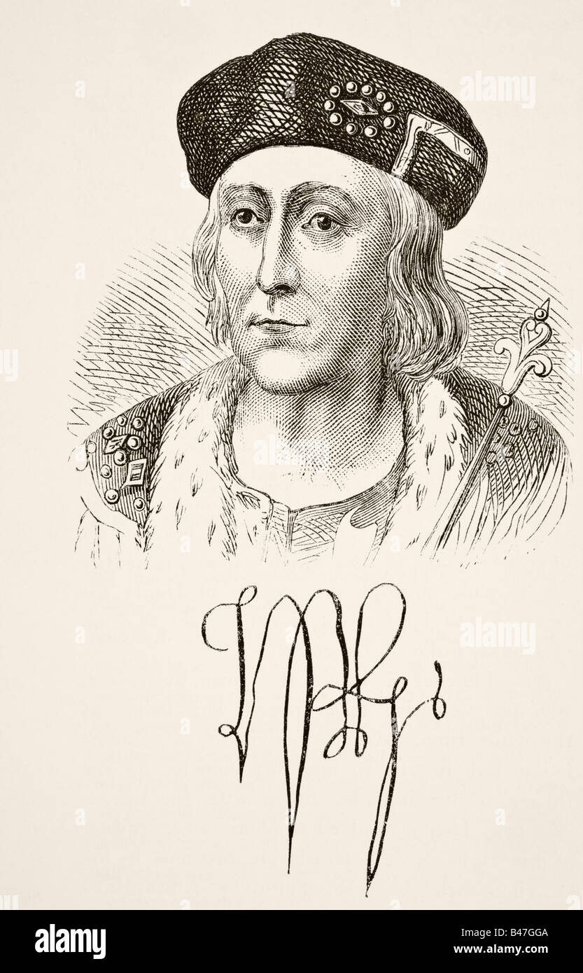 Autograph and portrait of King Henry VII of England 1457 to 1509 - Stock Image