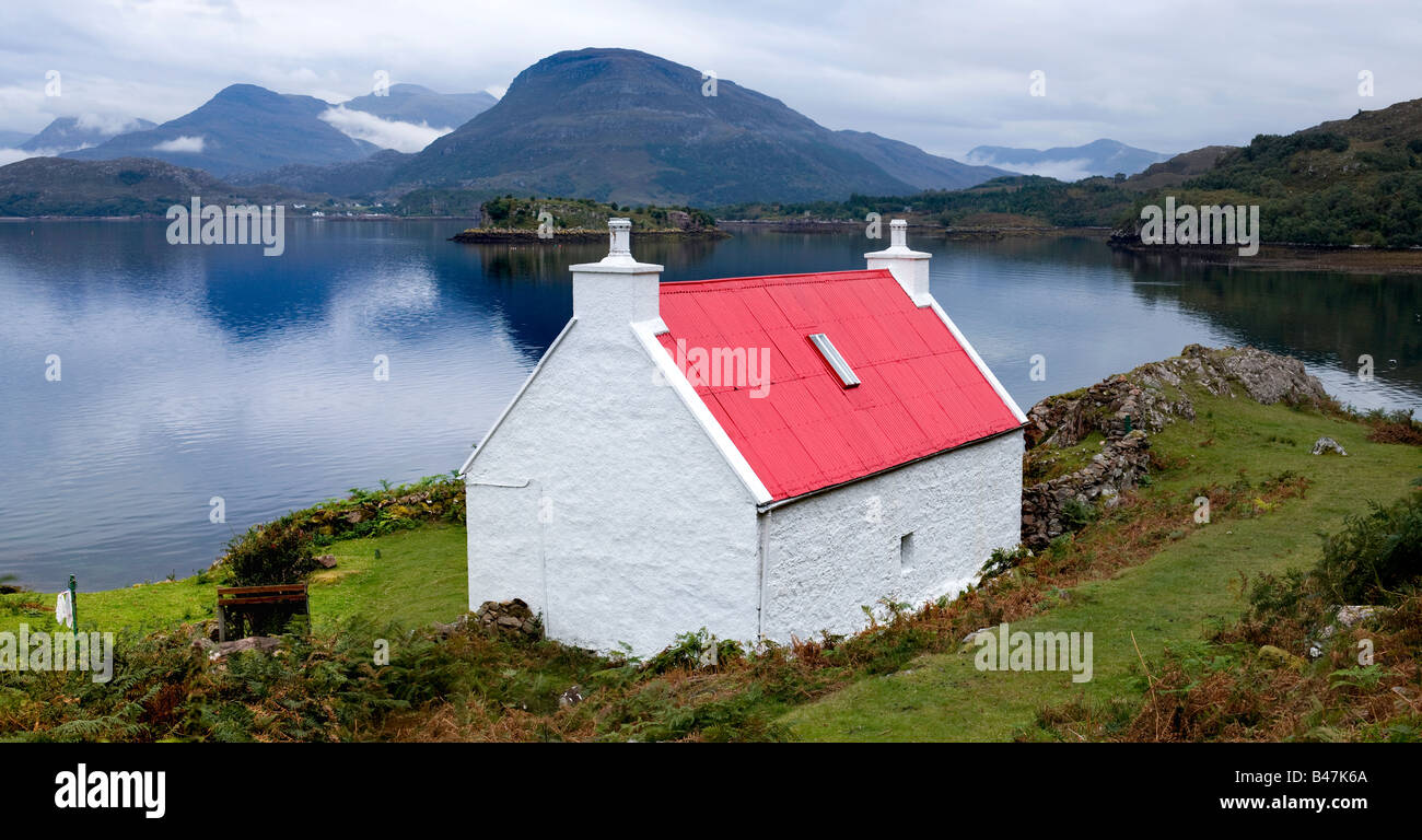Red Roofed Cottage At Ardheslaig View Over Loch Shieldaig