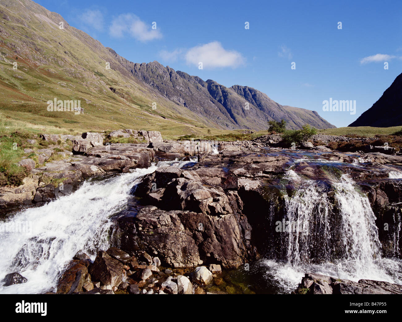 dh River Coe Scottish glen GLENCOE ARGYLL SCOTLAND Waterfall mountains Aonach Eagach The Chancellor mountain valley Stock Photo