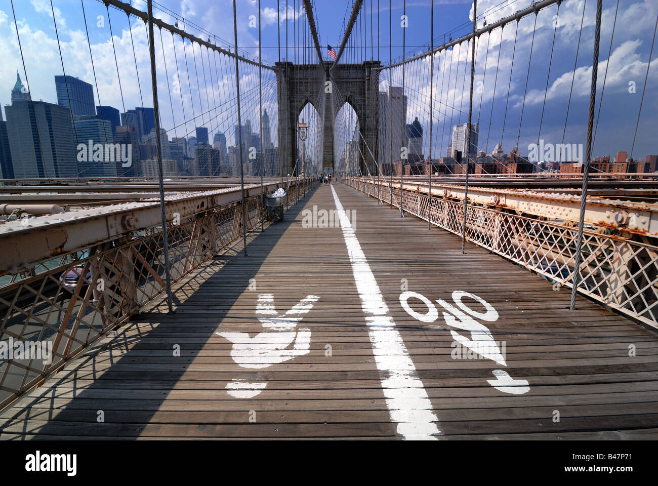The walkway across the Brooklyn Bridge in New York city has separate lanes for pedestrian walkers and bicyclists. Stock Photo