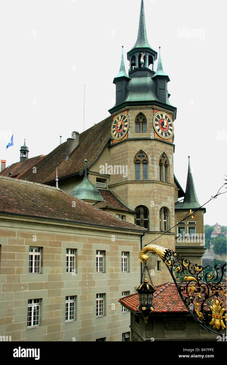 Fribourg. Tower of the Townhall. - Stock Image