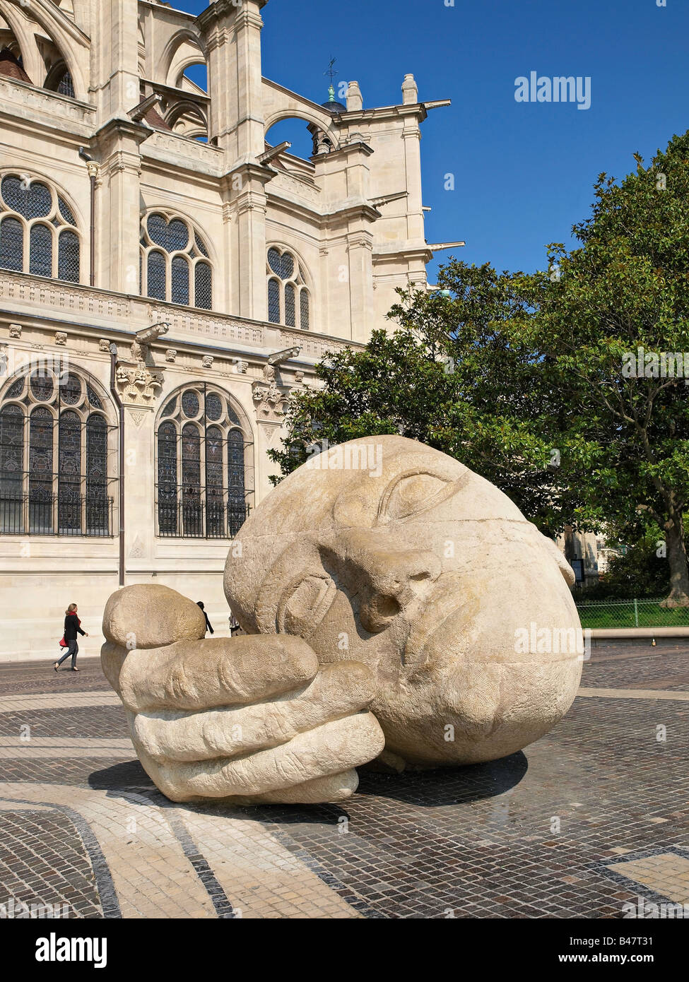 Sculpture in front of St Eustache church, Paris, France. - Stock Image