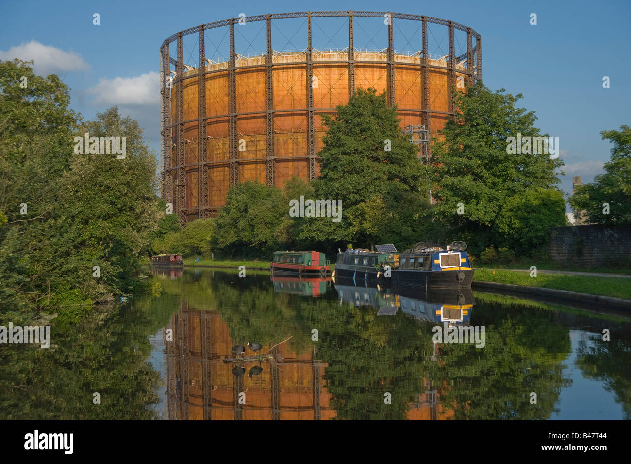 An old Gas tower grand Union canal Harlesden West London - Stock Image