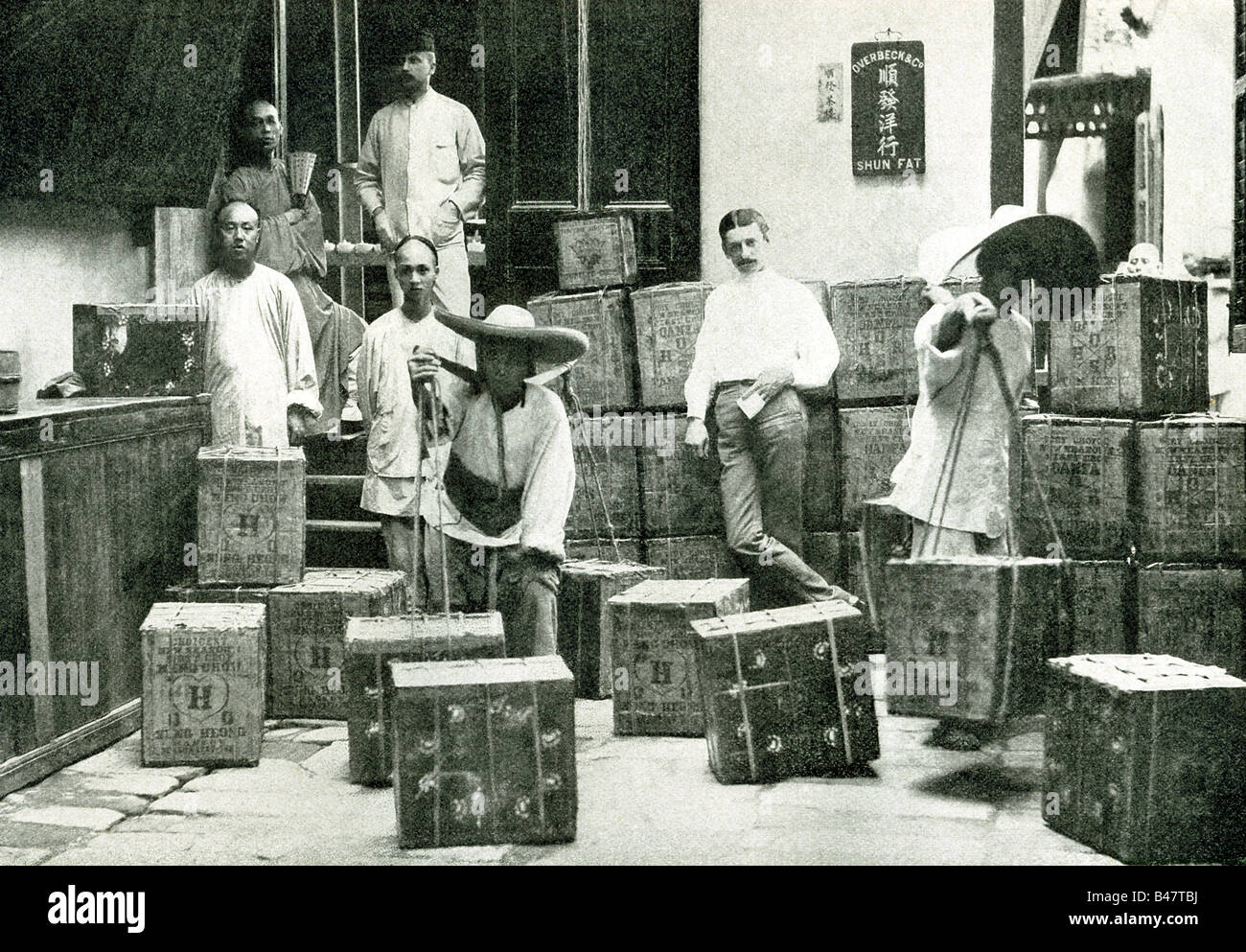 Chinese Merchants Selling Tea - Stock Image