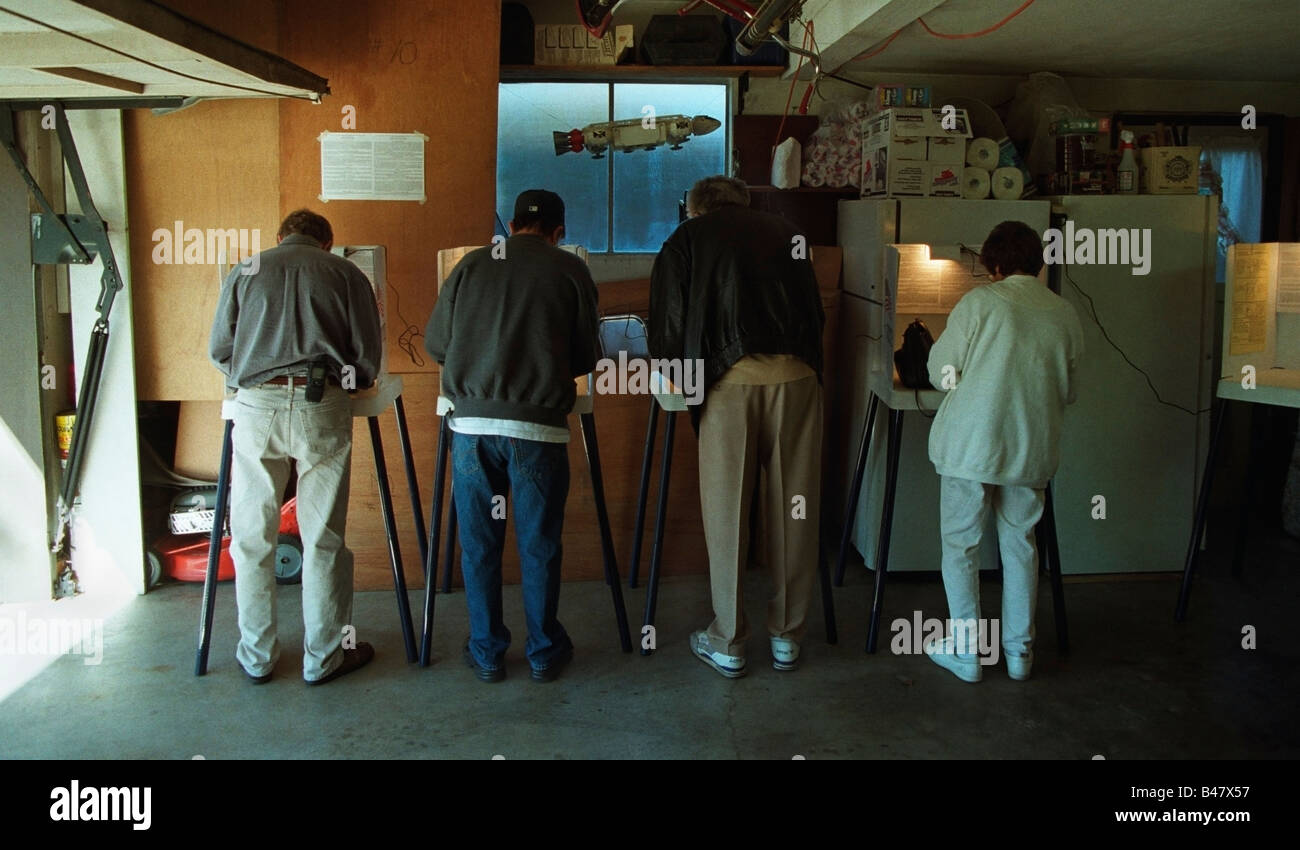 Punch Card Voting at a Polling Place inside of a private home in San Jose, CA, During the 2000 U.S. Presidential - Stock Image