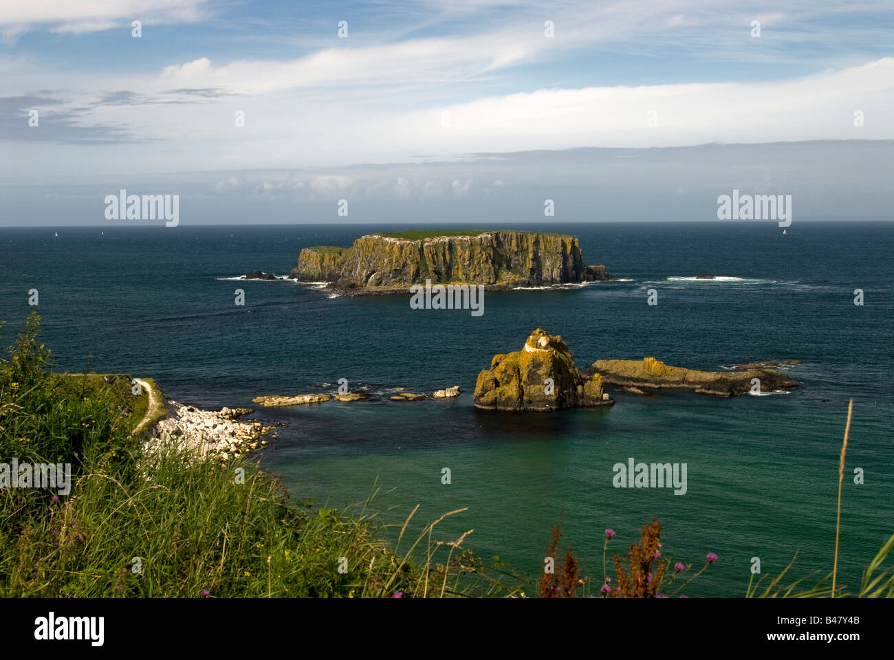 A coastal near Carrick-a-Rede Rope Bridge. County Antrim. Northern Ireland Stock Photo