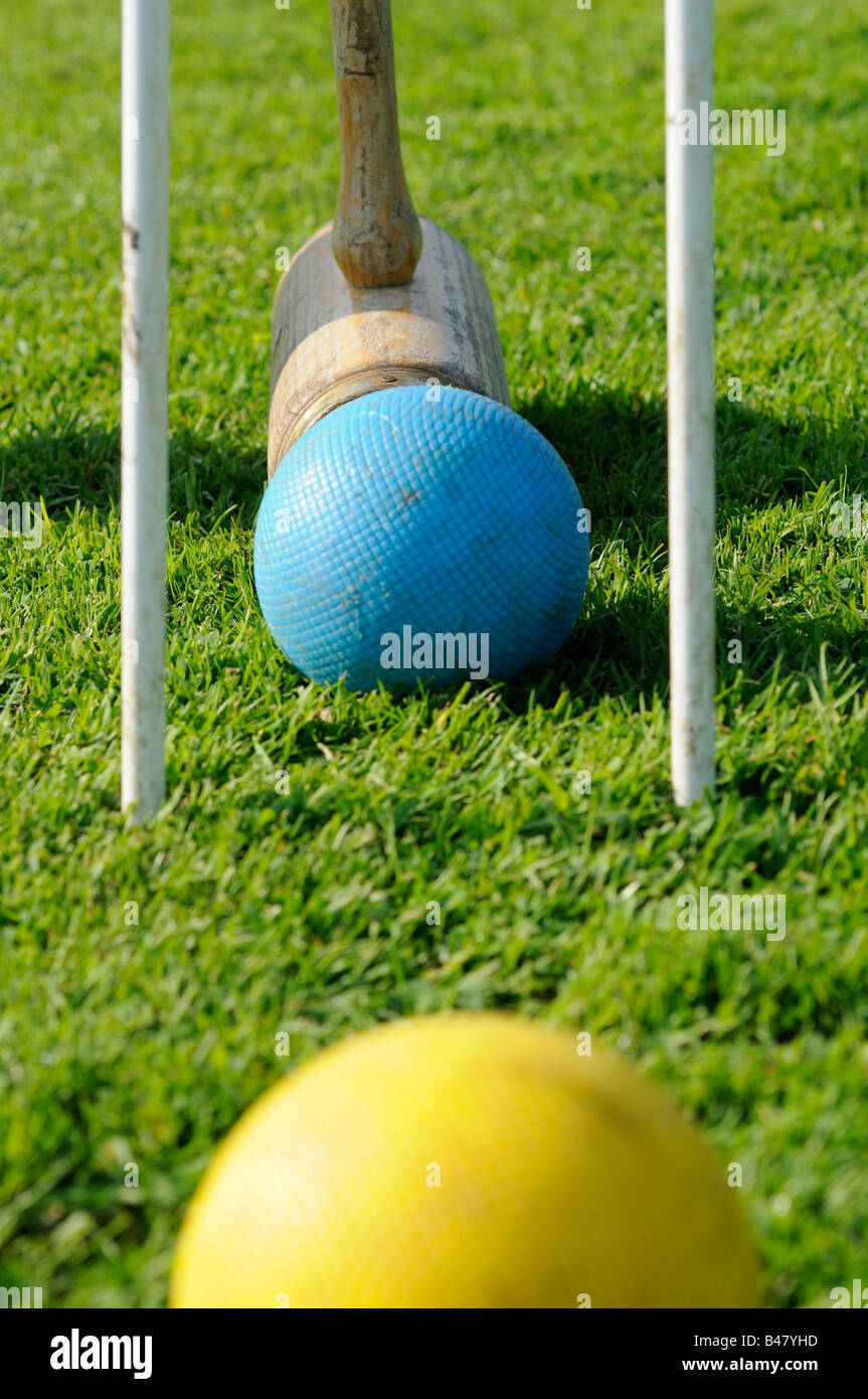 Lawn Croquet Hoop balls and Mallet - Stock Image