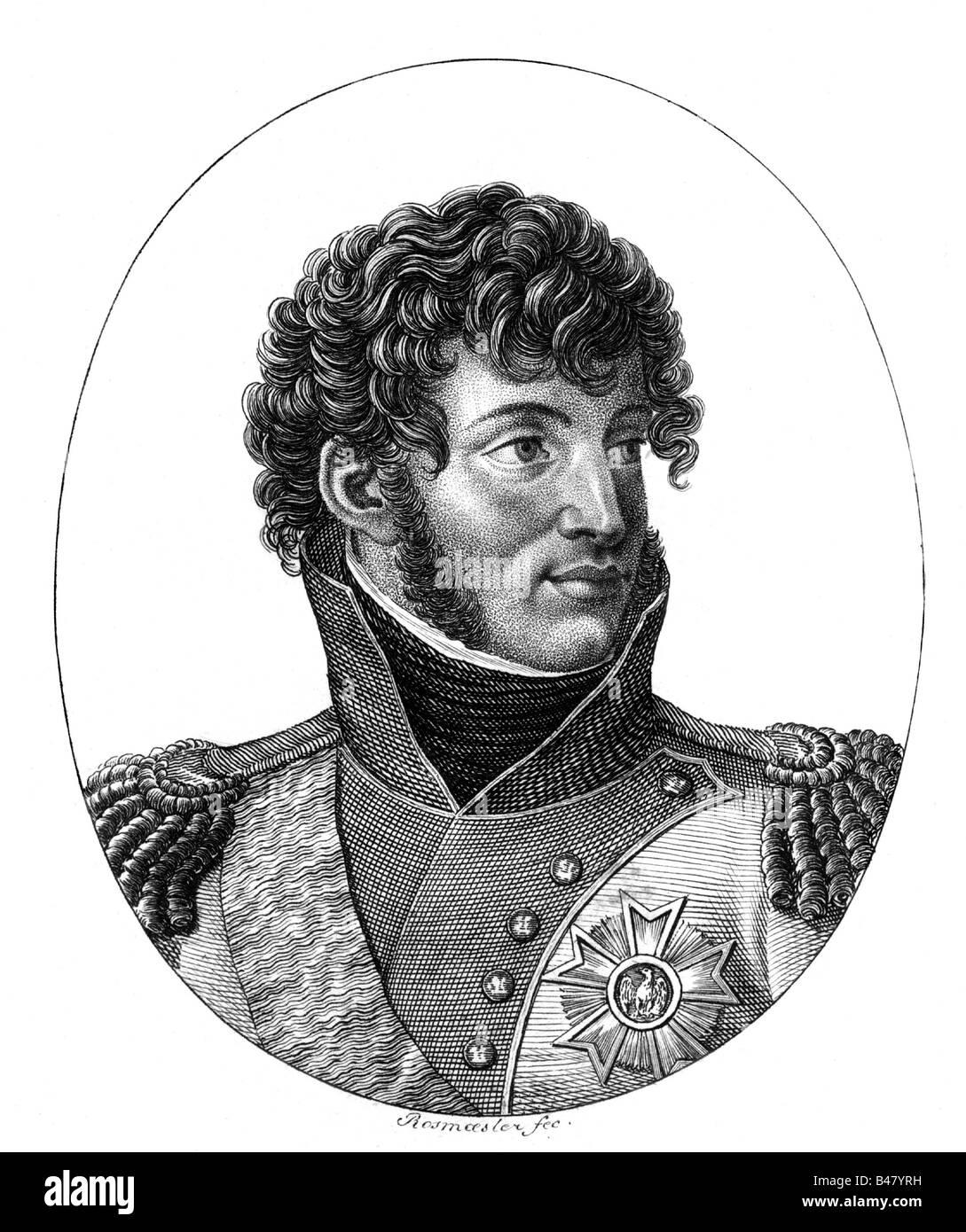 Murat, Joachim, 25.3.1771 - 13.10.1815, French general, portrait, steel engraving by Rosmäaesler, circa 1810, - Stock Image