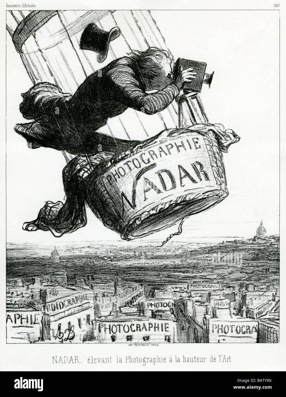 Nadar, 6.4.1820 - 21.3.1910, French photographer, caricature by Honore Daumier, 19th century, Nadar is elevating - Stock Image