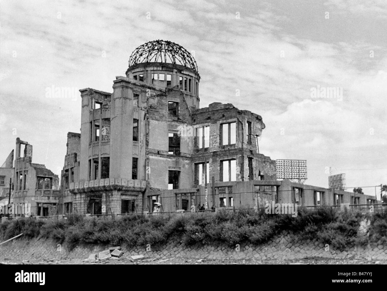 events, Second World War / WWII, Japan, Atomic bombing of Hiroshima, 6.8.1945, destroyed Prefectural Industrial - Stock Image