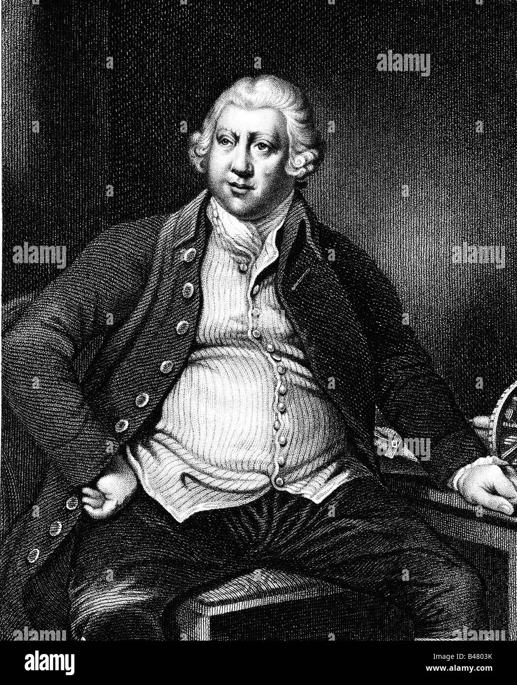 Arkwright, Richard, Sir, 23.12.1732 - 3.8.1792, British inventor and businessman, half length, steel engraving by - Stock Image