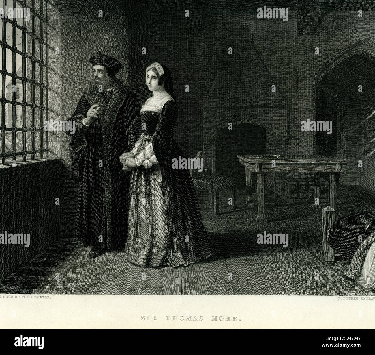 More, Thomas, 7.2. 1478 - 6.7.1535, English philosopher and politician, in his cell in the Tower of London, engraving - Stock Image