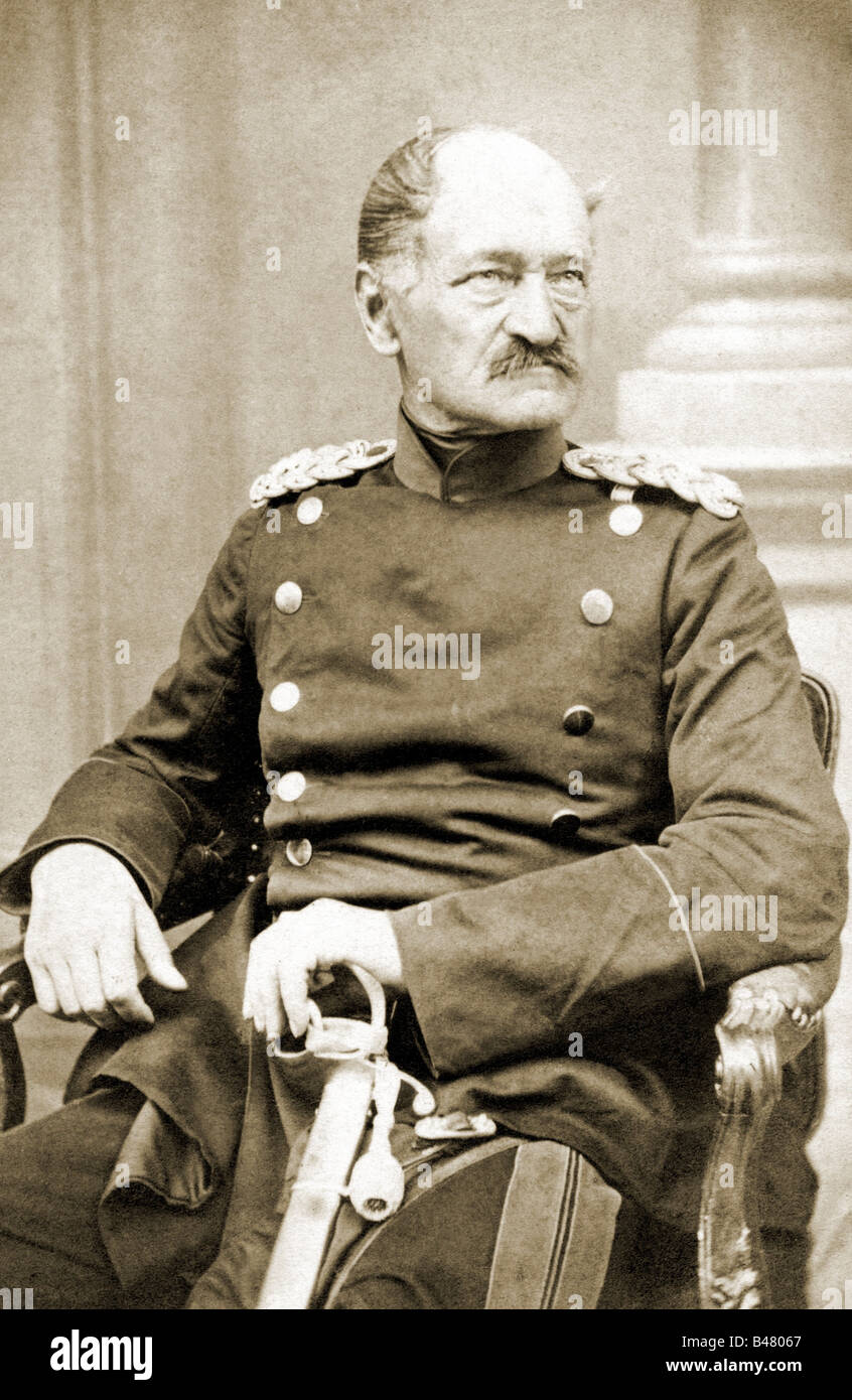 SG, historic, military, Germany, Prussia, person, lieutenant-general August von Horn, Commanding Officer of the Stock Photo