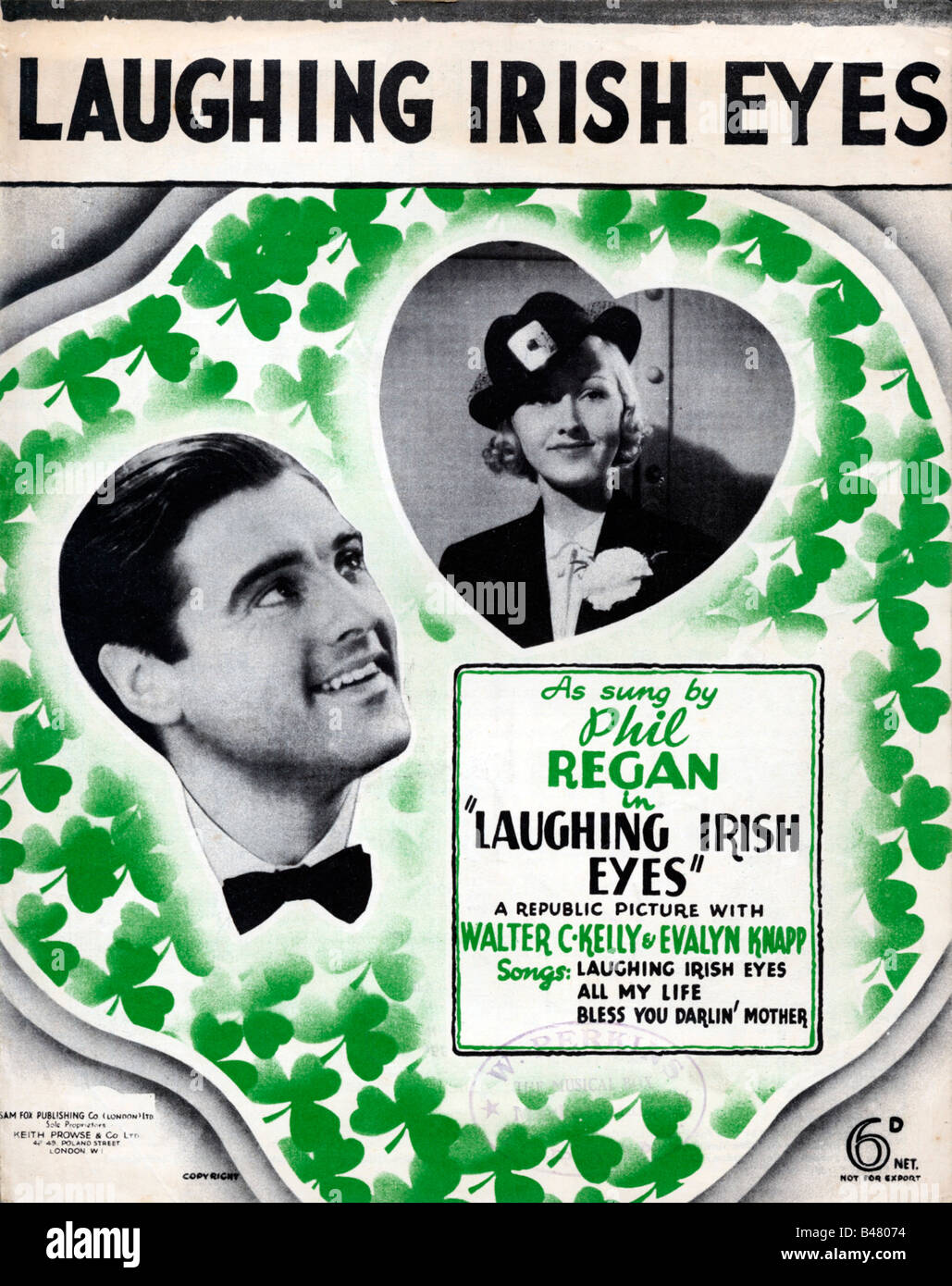 Laughing Irish Eyes music sheet cover for the title song of the 1936 movie sung by Phil Regan - Stock Image