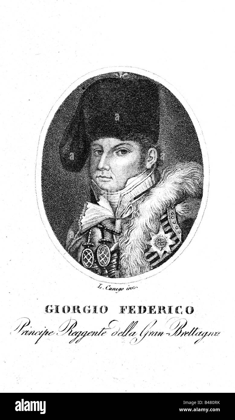 George IV, 12.8.1762 - 26.6.1830, King of Great Britain 29.1.1820 - 26.6.1830, portrait, copper engraving by L. - Stock Image