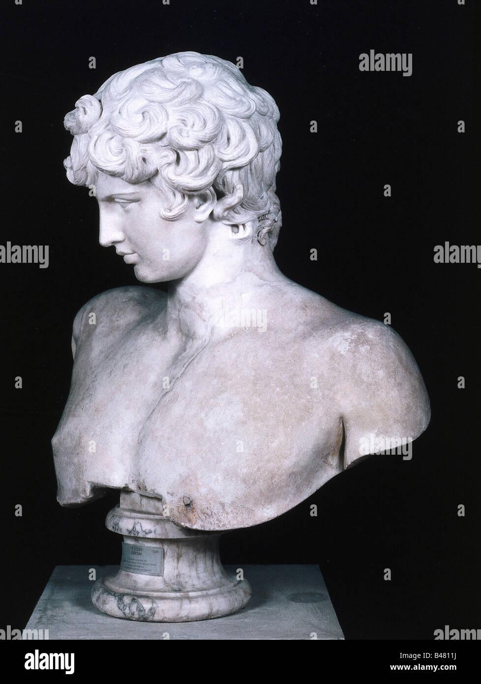 Antinoos (Antinous), 110 - 130 AD, Roman beloved of Emperor Hadrian (Publius Aelius Hadrainus), bust, marble, Ludovisi - Stock Image