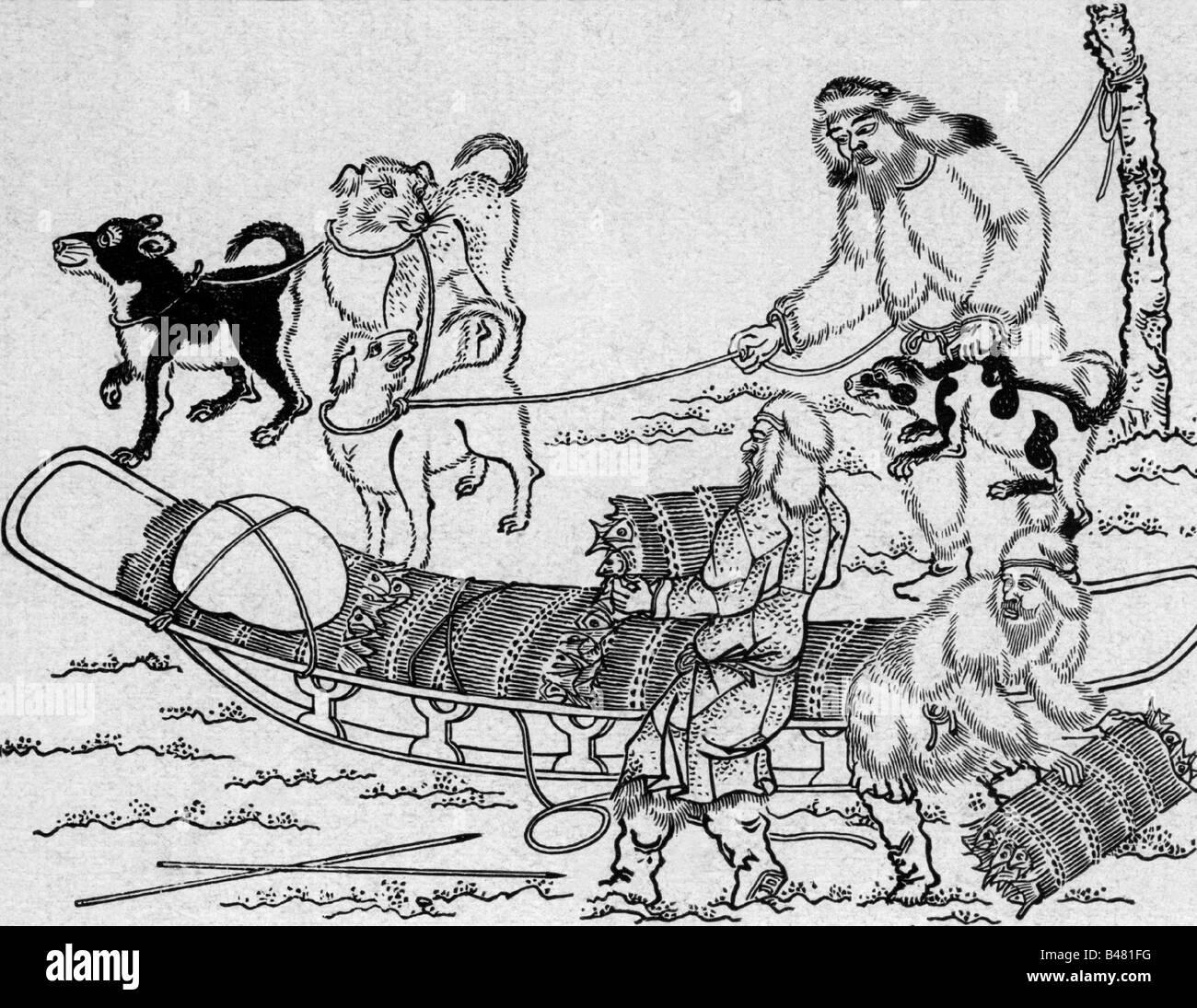 geography / travel, Japan, people, Ainu with dogsled, Japanese woodcut, traffic, sled, dogs, dog, animal, winter, - Stock Image