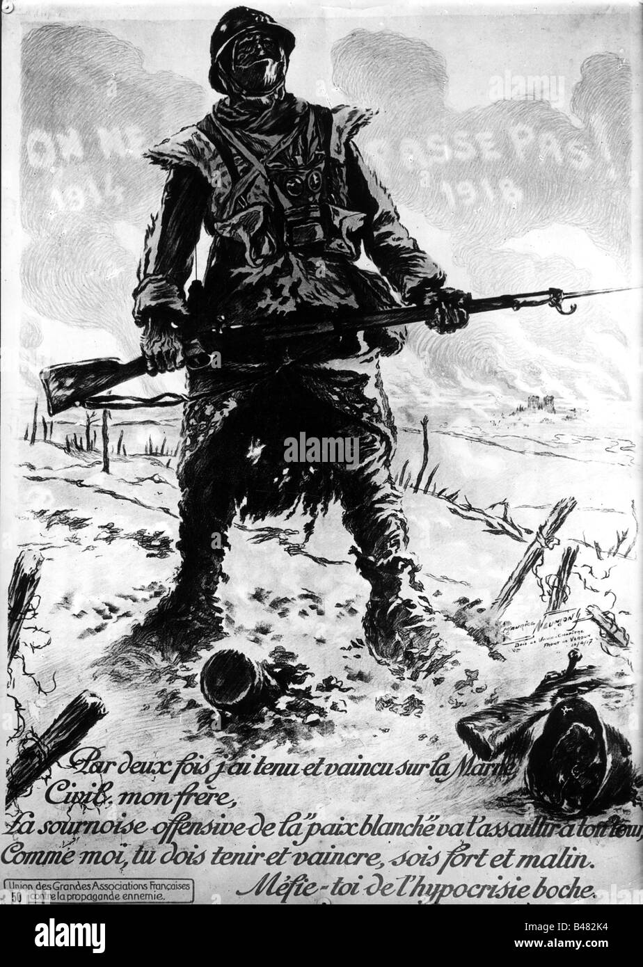 Nationalist Artwork Events-first-world-war-wwi-propaganda-french-soldier-defending-the-B482K4