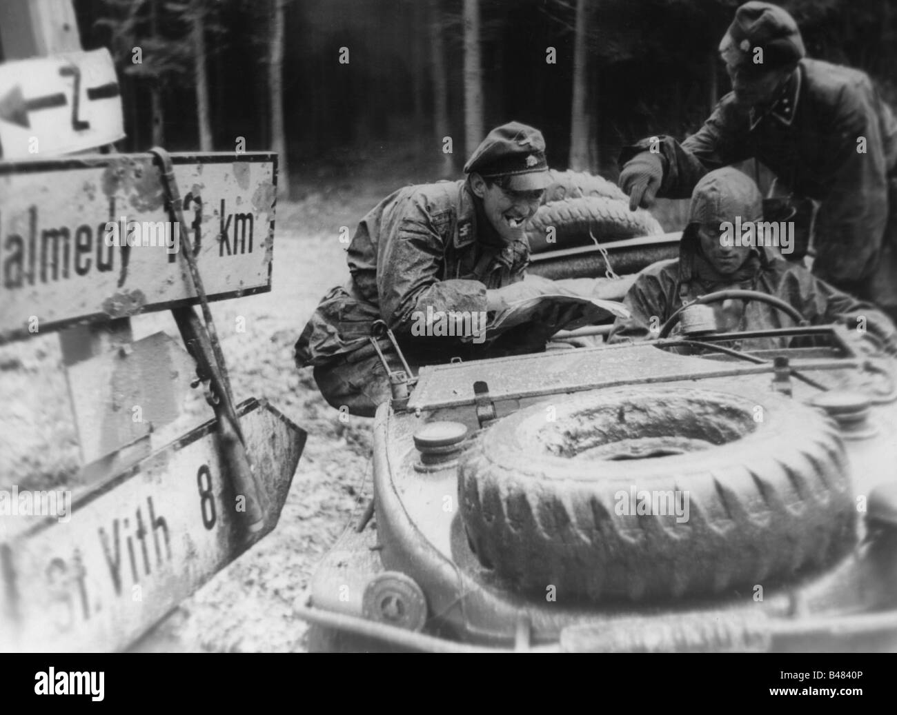 events, Second World War / WWII, Belgium, Battle of the Bulge, German advance 16.-27.12.1944, vanguard of Kampfgruppe Stock Photo