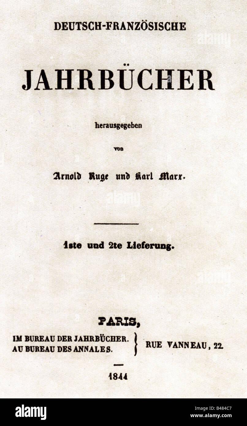 Marx, Karl, 5.5.1818 - 14.3.1883, German philosopher, works, title,  'Deutsch-Französische Jahrbücher', - Stock Image
