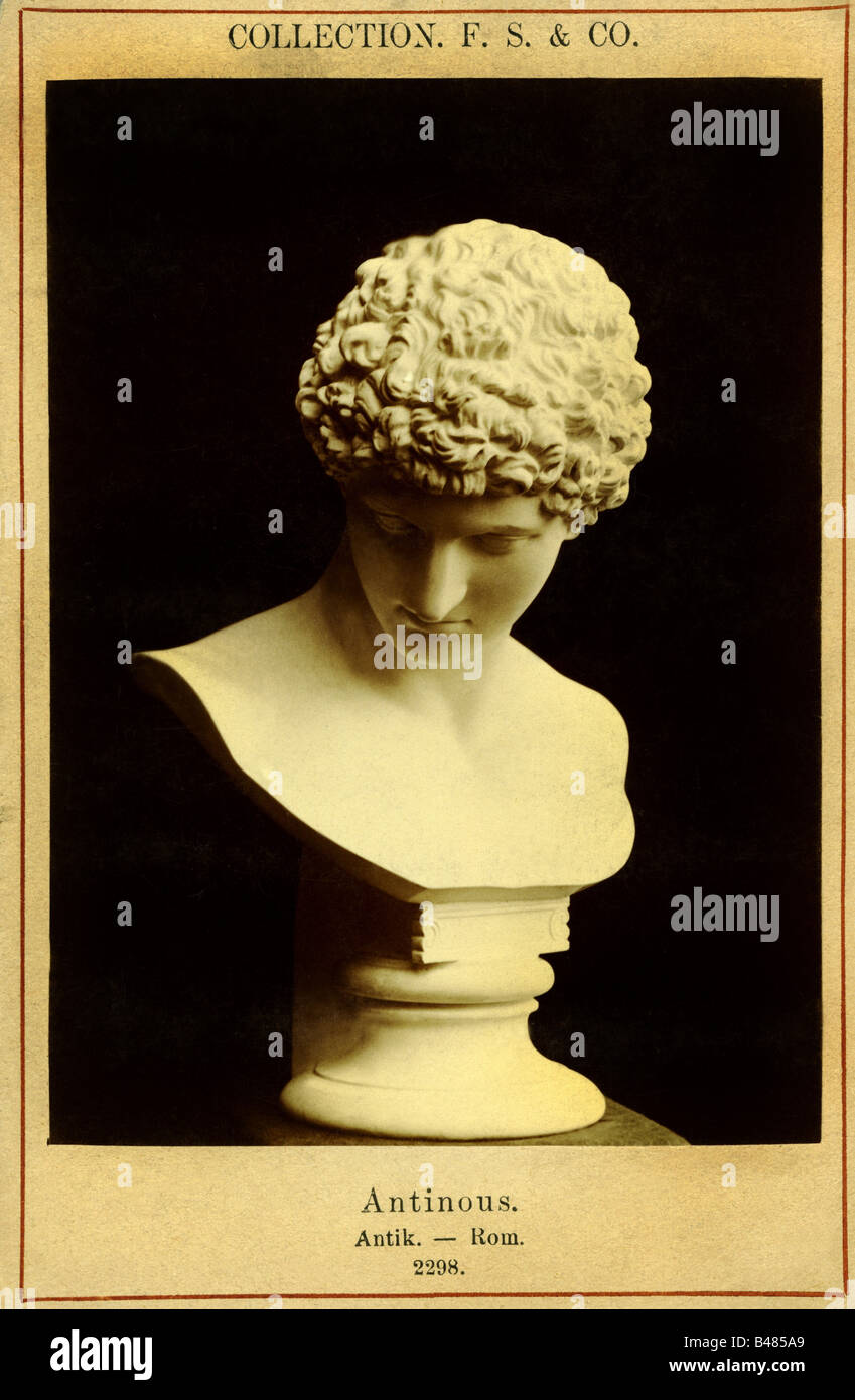 Antinous, 110/115 - 130 AD, Greek lad, bust, photography, Collection F. S. und Co., second half 19th century, Antinoos, - Stock Image