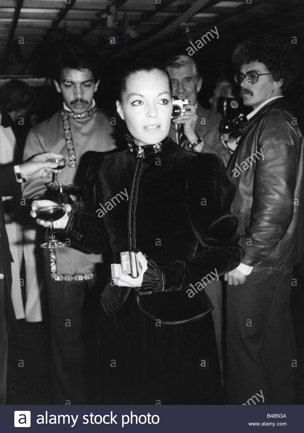 Schneider, Romy, 23.9.1938 - 29.5.1982, German actress, half length,   tribute event to Luchino Visconti ('Hommage - Stock Image