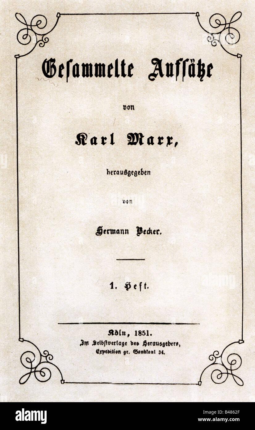 Marx, Karl, 5.5.1818 - 14.3.1883, German philosopher, works, 'Gesammelte Aufsätze', edited by Hermann - Stock Image