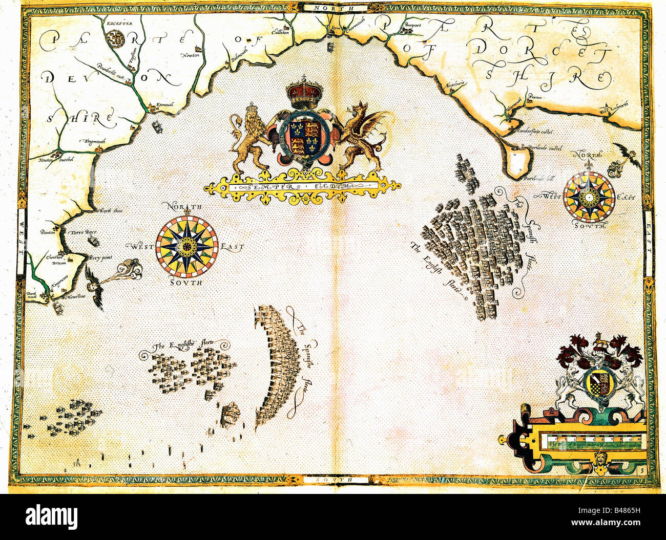 events, Anglo-Spanish War 1585 - 1604, Battle in the English Channel, 20.7.1588 - 28.7.1588, sea chart, 16th century, - Stock Image