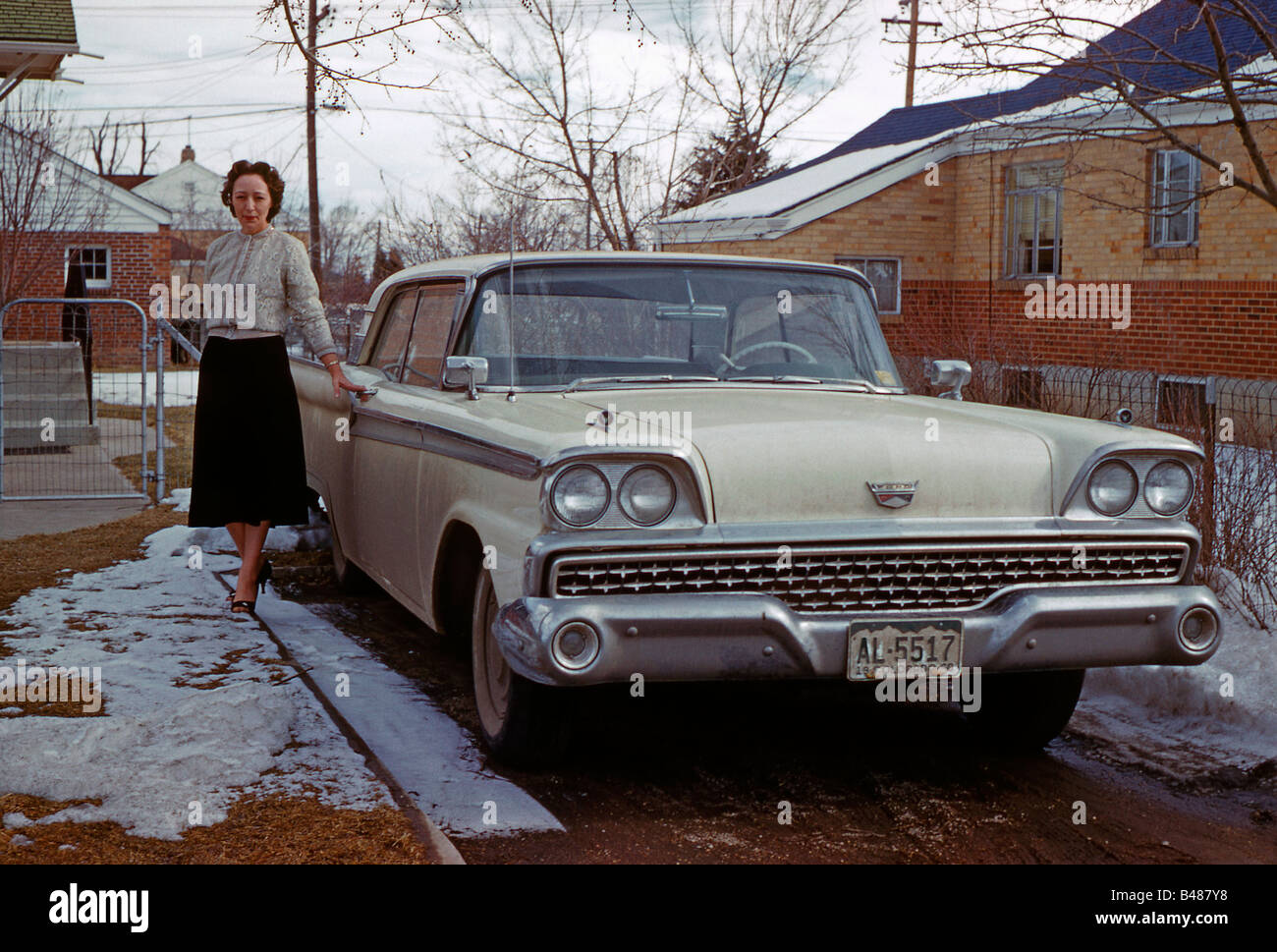 Ford Galaxie 2 door sedan with woman owner, Colorado, USA, 1960 - Stock Image