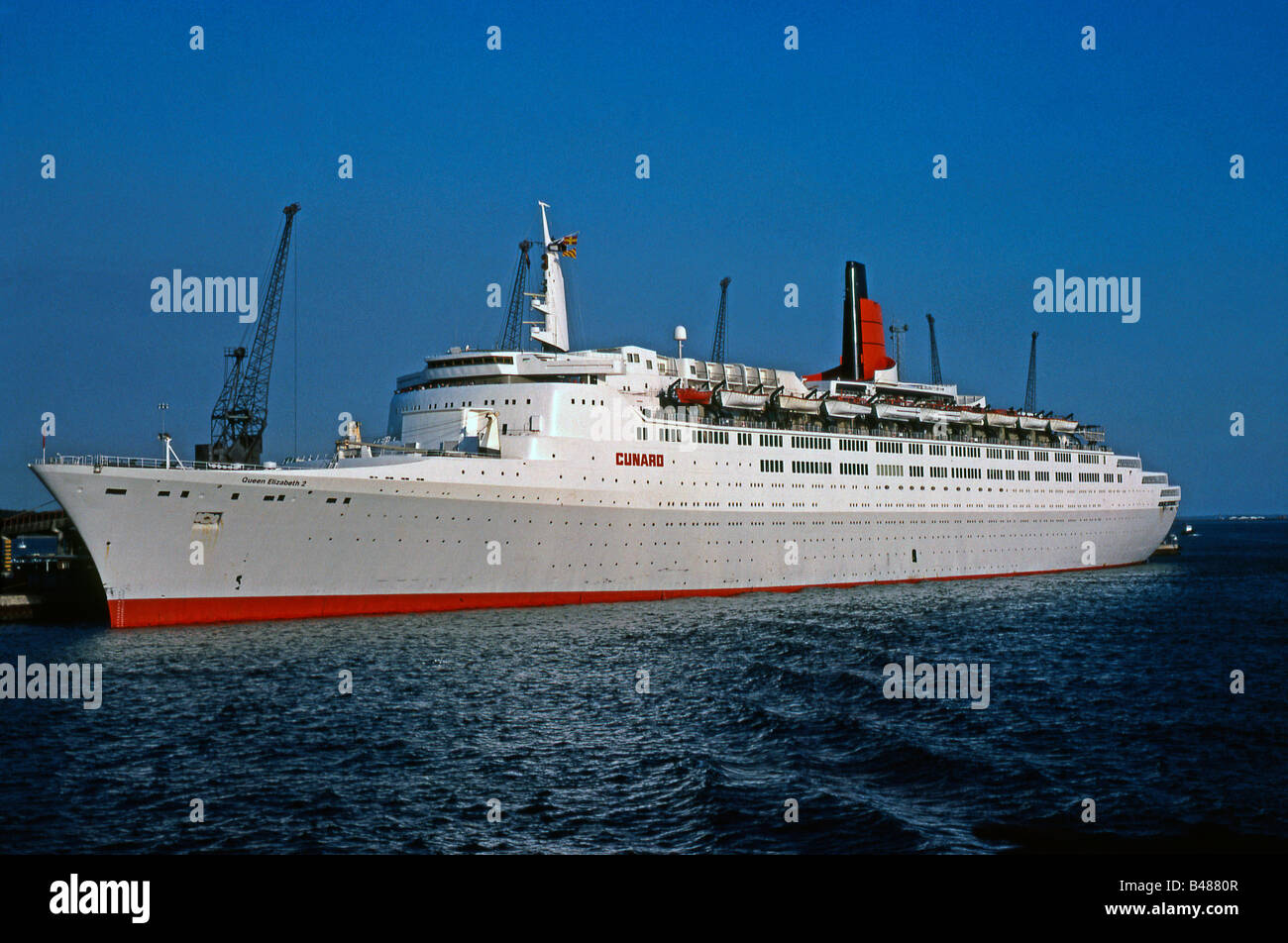 Cunard Line's QE2 at Southampton, England in 1983 - Stock Image