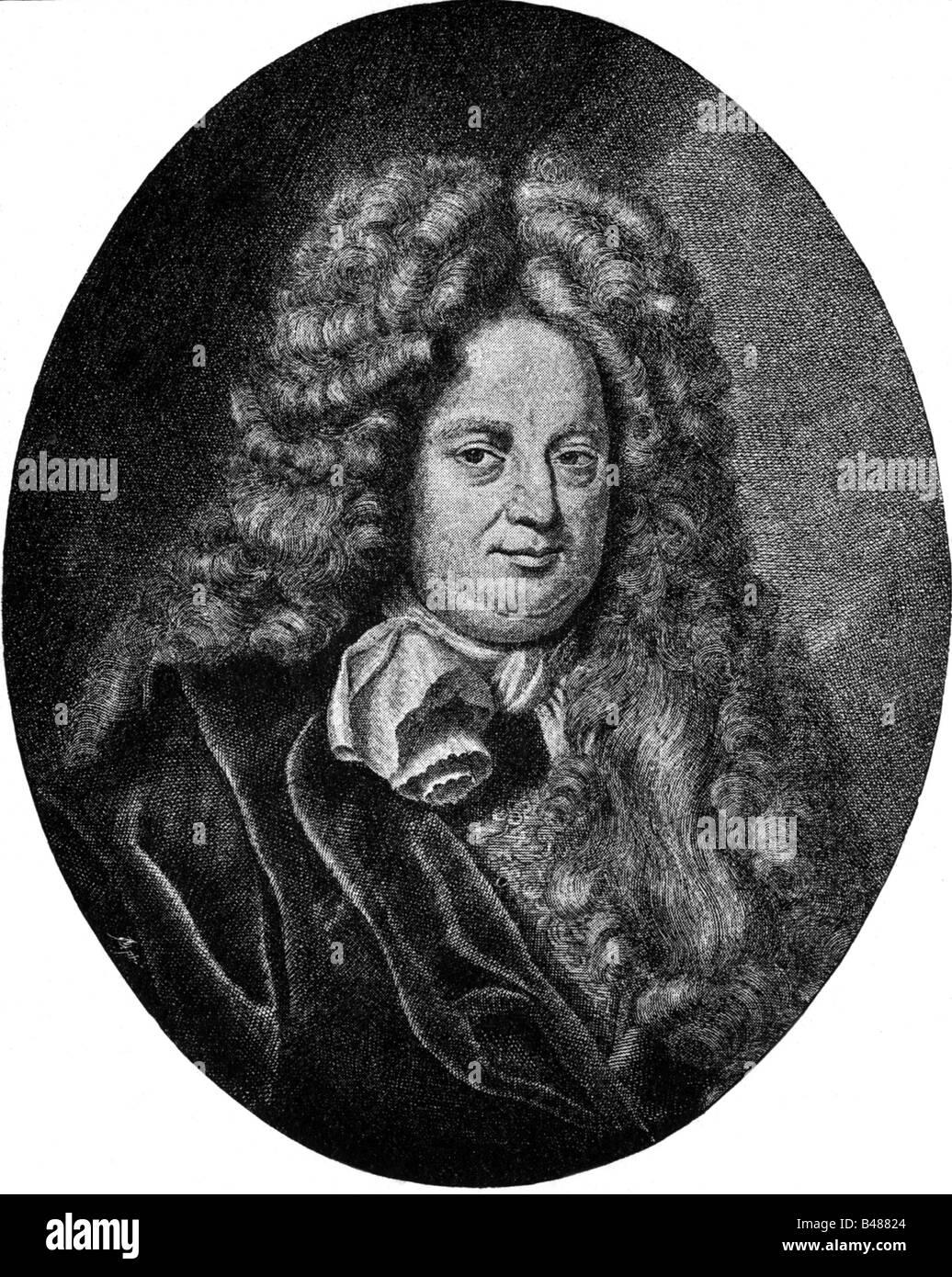 Danckelmann, Eberhard von, 23.11.1643 - 31.3.1722, Brandenburgian statesman, portrait, copper engraving by G. B. - Stock Image