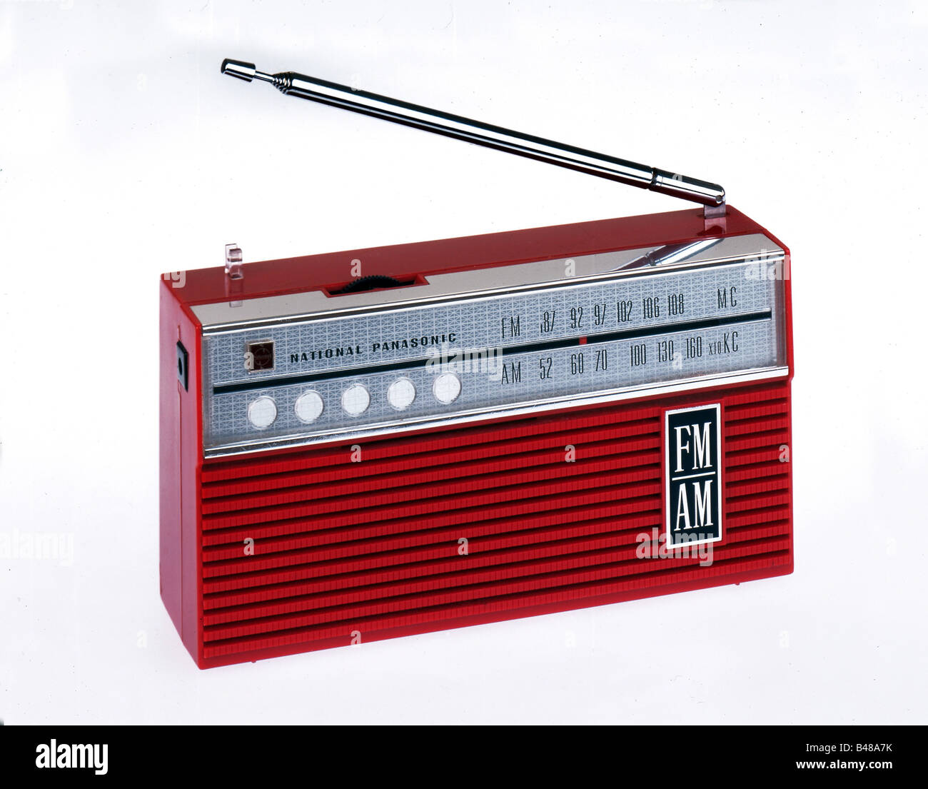 technic, radio, Japanese radio of National Panasonic, red, Japan, studio shot, circa 1968, Additional-Rights-Clearances - Stock Image