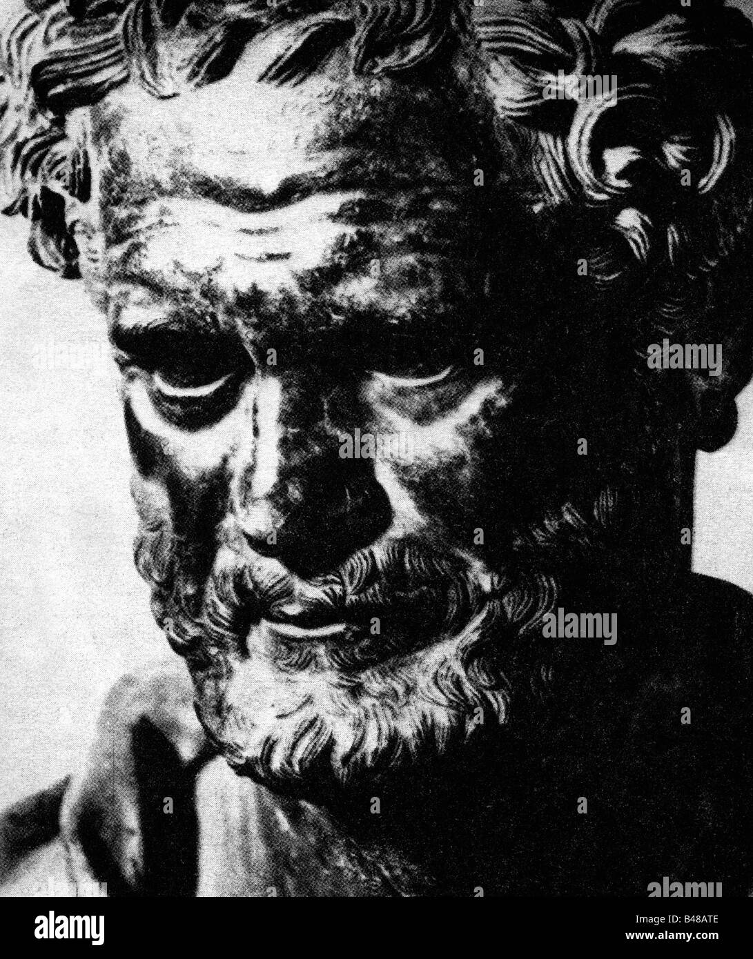 Democritus of Abdera, circa 465 - circa 365 BC, Greek philosopher, portrait, print after bust, undated, Additional - Stock Image
