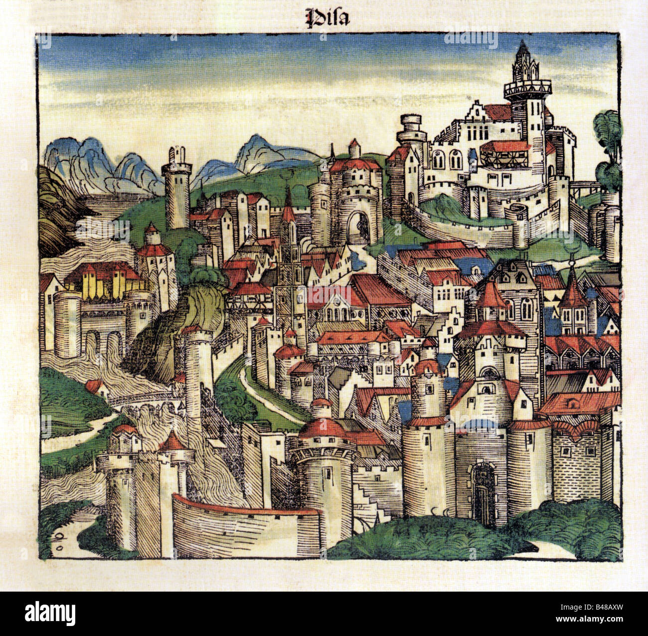 geography / travel, Italy, Pisa, city views / cityviews, woodcut by Michael Wohlgemut or Wilhelm Pleydenwurff, world - Stock Image