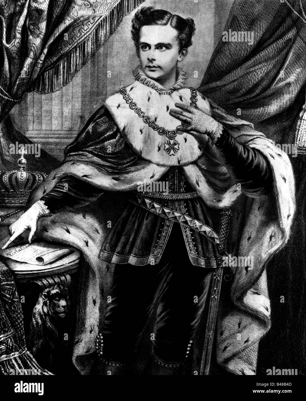 Ludwig II, 25.8.1845 - 13.6.1886, King of Bavaria 10.3.1864 - 13.6.1886, half length, capped and gowned, lithograph, - Stock Image