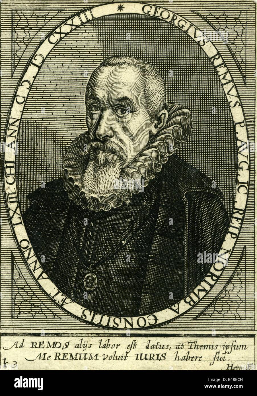 Remus, Georg, 1561 - 15.8.1625, German politician, alderman in Nuremberg, engraving, 17th century, Artist's - Stock Image